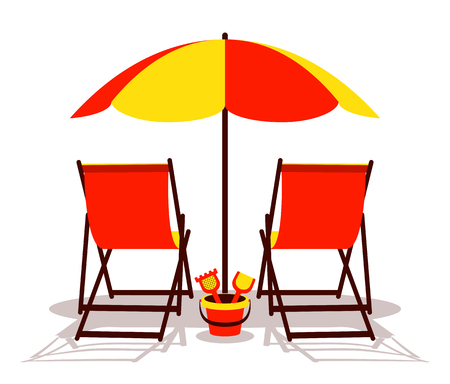 8e864f96ea A vector deck chairs and sand bucket under beach umbrella isolated ...