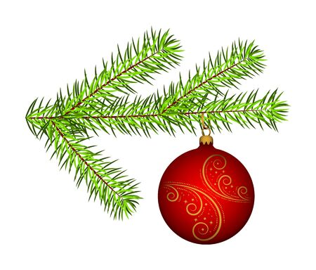 Illustration pour vector spruce twig with christmas ball isolated on white background - image libre de droit