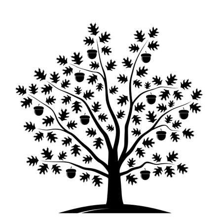 Illustration pour vector oak tree isolated on white background - image libre de droit