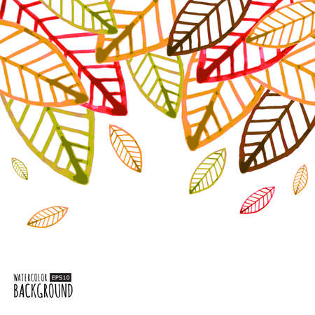 Watercolor vector background with colorful autumn leaves.のイラスト素材