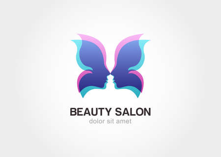 Woman's face in butterfly wings. Abstract design concept for beauty salon. Vector logo template.