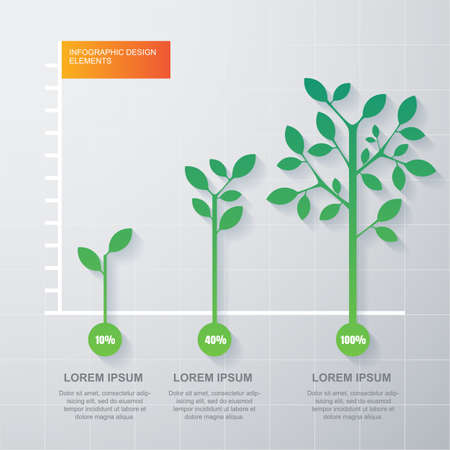 Illustration for Green tree and plant diagram infographics template. - Royalty Free Image