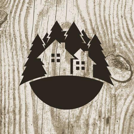 Illustration pour Vintage styled eco house badge with tree on wooden texture background. Vector logo design template.  Design concept for real estate agencies, hotels, cottages rent - image libre de droit