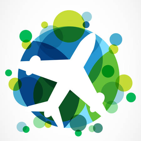 Illustration pour Flight airplane silhouette and colorful circle planet background with place for text. Travel around the world concept. Abstract vector logo design template. - image libre de droit