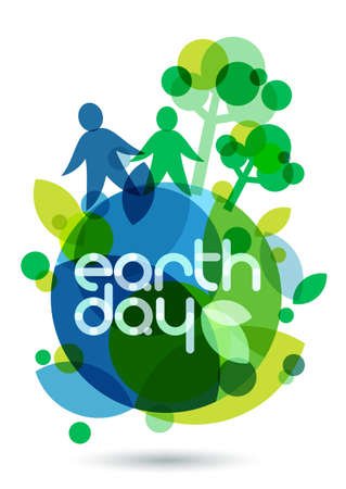 Two people silhouettes and green trees on the Earth. Abstract vector illustration. Ecology background, concept for save earth day.