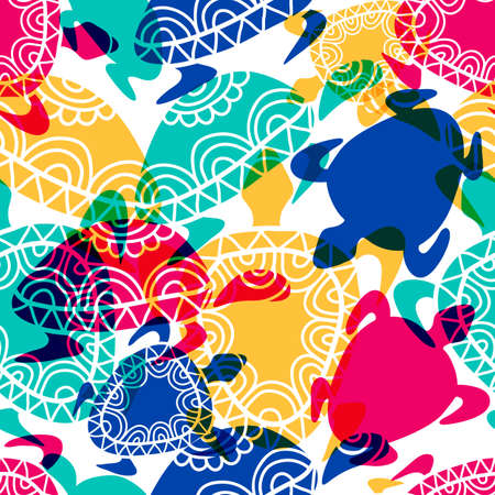 Vector seamless pattern with transparent multicolor ornamental turtles. Hand drawn background.のイラスト素材