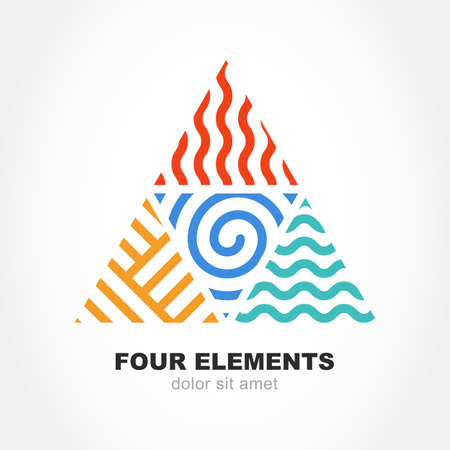 Ilustración de Four elements simple line symbol in pyramid shape. Vector logo design template. Abstract concept for nature energy, synergy, tourism, travel, business. Fire, air, water and earth sign. - Imagen libre de derechos