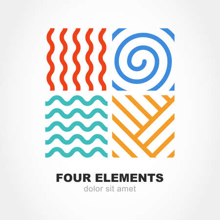 Ilustración de Four elements simple line symbol. Vector logo template. Abstract design concept for nature energy, tourism, travel, business, synergy. Fire, air, water and earth sign. - Imagen libre de derechos