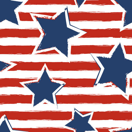 Foto de Happy 4th of July, USA Independence Day background. Vector seamless flag pattern, watercolor blue star and red stripes. Abstract design concept for greeting card, banner, flyer, poster. - Imagen libre de derechos