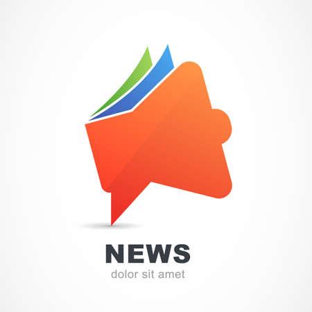 Abstract red megaphone icon. Vector logo design template. News, branding, magazine, advertisement concept symbol.