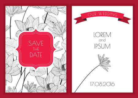 Set of vector floral save the date greeting card. Hand drawn lotus flower seamless pattern background. Black, white, red colors illustration. Wedding invitation, birthday, flyer, banner design.