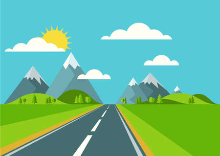 Vector landscape background. Road in green valley, mountains, hills, clouds and sun on the sky. Flat style illustration of spring or summer nature.