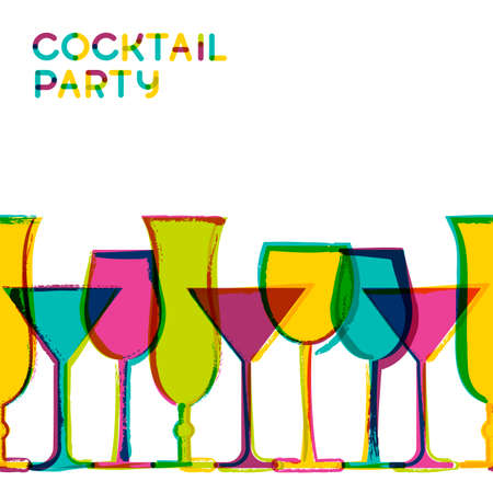 Illustration pour Multicolor cocktail glasses. Vector watercolor seamless background. Concept for bar menu, party, alcohol drinks, wine list. Creative trendy design for  flyer, brochure, poster, banner. - image libre de droit