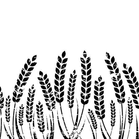 Vector seamless horizontal background with isolated ear of wheat. Black and white grunge texture. Abstract concept for organic products, harvest, grain, bakery, healthy food.