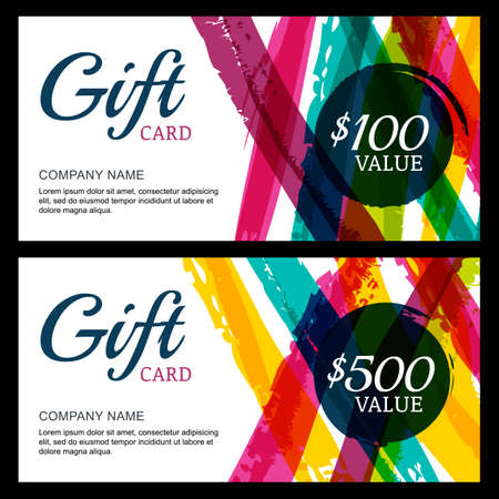Vector gift card, abstract watercolor stripes and splashes