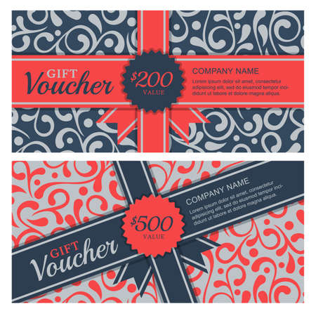 gift voucher with flourish ornament background and ribbon. Decorative business card template. Floral design concept for boutique, beauty salon, spa, fashion, flyer, invitation.