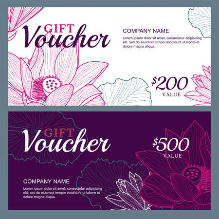 Vector gift voucher template with lotus, lily flowers. Business floral card template. Abstract background. Concept for boutique, jewelry, floral shop, beauty salon, spa, fashion, flyer, banner design.