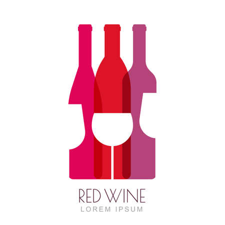 Illustration pour Vector wine bottles and glass, negative space logo design template. Colorful trendy illustration in red and pink colors. Concept for wine list, bar menu, alcohol drinks, wine label, grape wine recipe. - image libre de droit