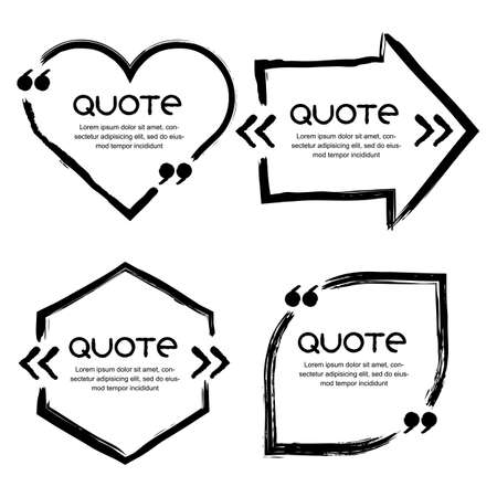 Illustration pour Vector set of quote forms template. Black and white backgrounds. Watercolor brush frame and speech bubbles in shape of heart, arrow, leaf. Business template for text information and print design. - image libre de droit