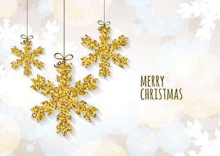 Vector Christmas or New Year greeting card template with golden glitter snowflakes. Abstract holiday illustration. Winter snow, glowing background. Holiday decoration, toys and baubles.