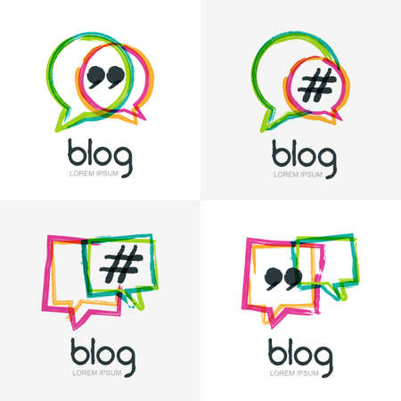 Illustration pour Set of vector watercolor hand drawn blog icon. Abstract isolated  . Colorful square speech bubbles with hashtag symbol. Design concept for blog, chat, social media network, forum, communication. - image libre de droit