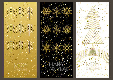 Merry Christmas or Happy New Year greeting cards set with vector golden outline  snowflakes and xmas tree. Trendy design template for holiday backgrounds, flyer, invitation, banner.