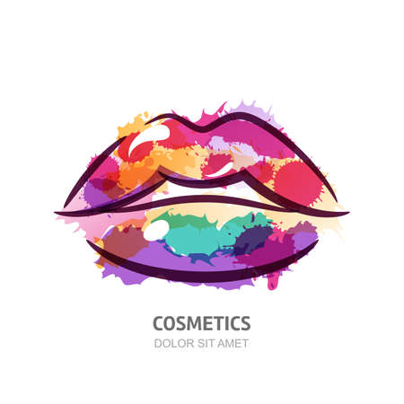Vector watercolor illustration of colorful womens lips. Abstract logo design. Watercolor background. Concept for beauty salon, cosmetics label, cosmetology procedures, visage and makeup stylist.