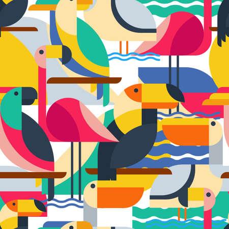 Ilustración de Seamless pattern with tropical birds. Vector flat background with toucan, cockatoo parrot, flamingo and pelican. Design concept for fabric design, textile print, wrapping paper or web backgrounds. - Imagen libre de derechos