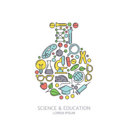 Vector laboratory background. Line icons set and design elements. Concept for medical, chemical industry, technologies and innovation themes. Illustration for science, research or education subject.