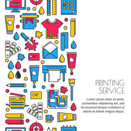 Ilustración de seamless vertical background with flat printing icons in  colors. Printer, plotter, paints paper and stationery illustration. Concept for copy center, printing service, publishing design. - Imagen libre de derechos