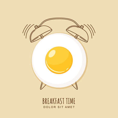 Fried egg and outline alarm clock, illustration of breakfast. Concept for breakfast menu, cafe, restaurant.  design template. Food background.