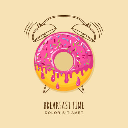 Photo for illustration of donut with pink cream and outline alarm clock. Concept for breakfast menu, cafe, restaurant, desserts, bakery. design template. Food background. - Royalty Free Image
