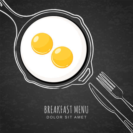 Fried eggs and hand drawn outline watercolor pan, fork and knife. White chalk drawing on black board background. Vector trendy design for breakfast menu, cafe, restaurant. Fast food background.