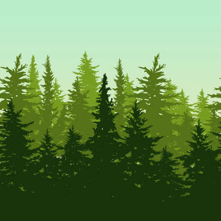 Illustration pour Vector horizontal seamless background with green pine or fir-tree forest. Nature background with evergreen trees. Design concept for environmental, ecology, protection nature or travel themes. - image libre de droit