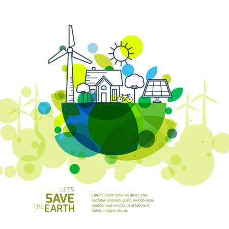 Illustration pour Vector illustration of earth with outline of wind turbine, house, solar battery, bicycle and trees. Background for save earth day. Environmental, ecology, nature protection and pollution concept. - image libre de droit
