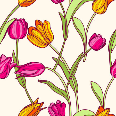Illustration pour Vector seamless pattern with pink and yellow tulip flowers. Spring colorful floral background. Design concept for fabric design, textile print, wrapping paper or web backgrounds. - image libre de droit