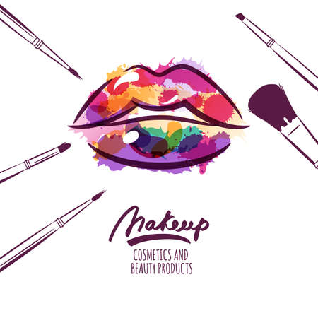 Ilustración de Vector watercolor hand drawn illustration of colorful womens lips and makeup brushes. Watercolor background. Concept for beauty salon, cosmetics label, cosmetology procedures, visage and makeup. - Imagen libre de derechos