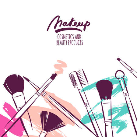 Watercolor Hand Drawn Illustration Of Makeup Brushes On Colorful Grunge Background Abstract Vector Banner Design Concept For Beauty Salon Cosmetics Label Cosmetology Procedures Visage And Makeup Royalty Free Vector Graphics