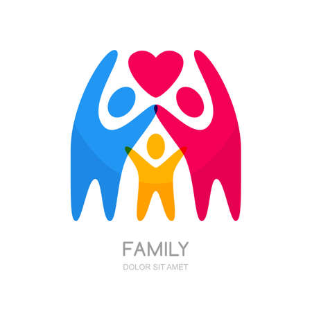 Illustration for Abstract multicolor people silhouette. Illustration of happy family or kids. Vector logo design template. Concept for charity, social network, partnership. - Royalty Free Image