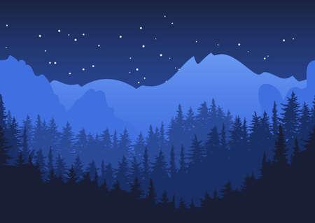 Nature horizontal seamless background. Blue night mountain landscape. Mysterious night sky.