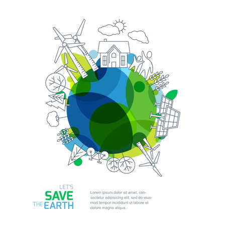Environmental and ecology vector illustration  Green earth with