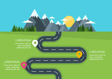 Illustration pour Road with markers, vector infographics template. Winding road in green field and mountains. Rural street flat style illustration. Summer or spring landscape background with space for text. - image libre de droit