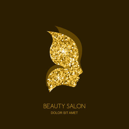 Ilustración de Female face in butterfly wings. Vector sticker or label design element. Concept for beauty salon, cosmetics, cosmetology and spa. Golden butterfly. Women profile with gold texture background. - Imagen libre de derechos