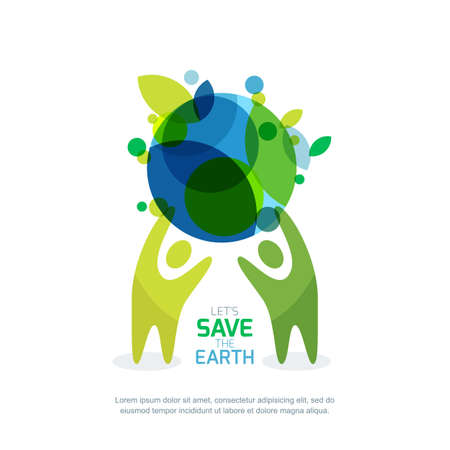 Illustration pour People holding green earth. Abstract illustration for save earth day. Environmental, ecology, nature protection concept. - image libre de droit