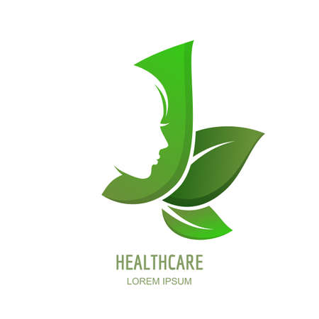 Ilustración de Female face in profile on green leaves background. Vector woman logo, label or emblem design elements.  Abstract concept for beauty salon, massage, cosmetics package, spa, natural healthcare themes. - Imagen libre de derechos