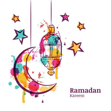 Ilustración de Ramadan greeting card with traditional watercolor lantern, moon and stars. Ramadan Kareem watercolor decoration background. Design for muslim ramadan holiday. Vector arabian holiday background. - Imagen libre de derechos