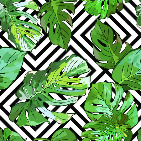 Green palm tree leaves on black and white geometric background. Vector summer seamless pattern. Hand drawn tropical leaves background. Design for fabric, textile print, wrapping paper or web.のイラスト素材