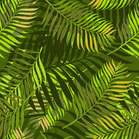 Illustration pour Vector seamless pattern with palm leaves. Design for fashion textile summer print, wrapping paper, web backgrounds.  Hand drawn tropical palm leaves background. Green jungle summer backdrop. - image libre de droit