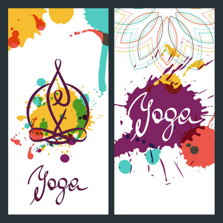 Yoga Backgrounds Logo And Lettering Vector Design Elements For For Banner Poster Flyer Label Yoga Watercolor Illustration Royalty Free Vector Graphics