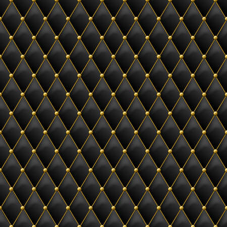 Illustration for Seamless black leather texture with gold metal details. Vector leather background with golden buttons. Luxury textile design, interior and furniture decoration concept. - Royalty Free Image